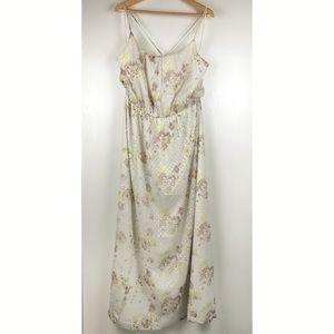 ModCloth Floral Lace Up Back Maxi Dress